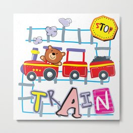 Teddy bear train Metal Print