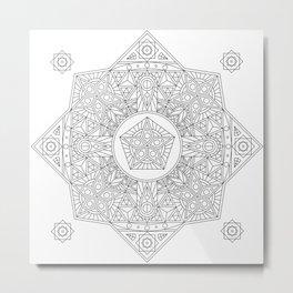 Mandala 5 Point Star Metal Print
