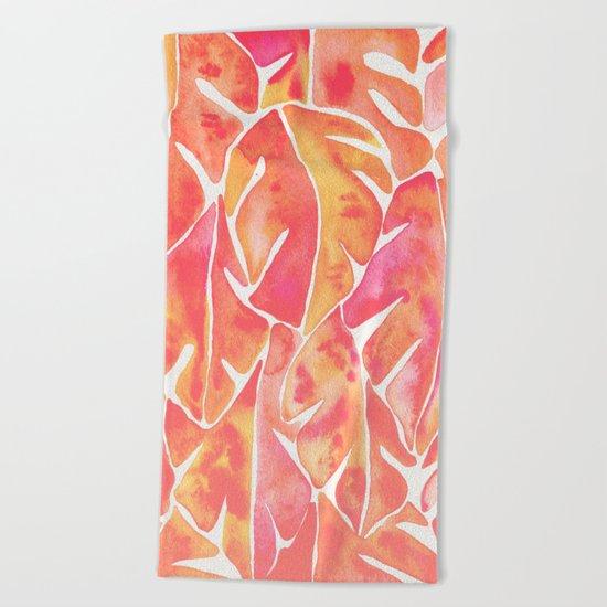 Split Leaf Philodendron – Melon Palette Beach Towel