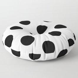 Large Polka Dots - Black on White Floor Pillow