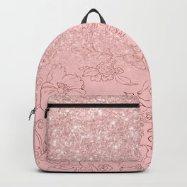 Elegant pink rose gold glitter gradient floral Backpack