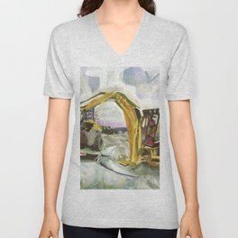 Blue whale on Second Beach, dissection with back-hoe, No. 4 - Middletown Unisex V-Neck