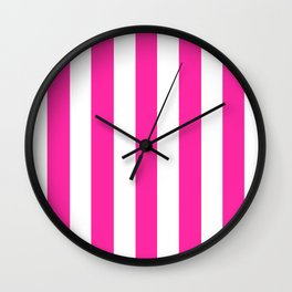 Persian rose pink - solid color - white vertical lines pattern Wall Clock