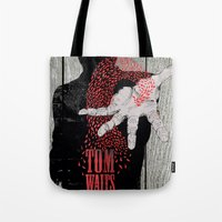 tom waits Tote Bags featuring Tom Waits by J.C.D