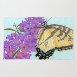 Swallowtail Butterfly And Butterfly Bush Rug