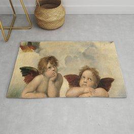 Raphael – Madonna Sistine – detail – two putti Rug