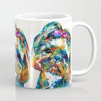shih tzu Mugs featuring Colorful Shih Tzu Dog Art By Sharon Cummings by Sharon Cummings