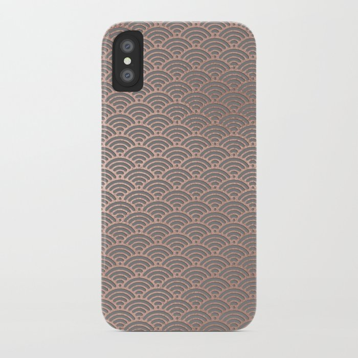 d39abe101e63 Rose gold mermaid pattern-on gray background iPhone Case