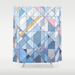 Triangle Pattern no.17 Light Blues Shower Curtain