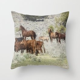 Meeting of the Herds Throw Pillow