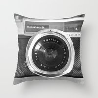 tea Throw Pillows featuring Camera by Nicklas Gustafsson