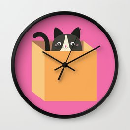 cat in a box Wall Clock