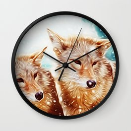 Lovely Wolf Couple Under the Snow Wall Clock