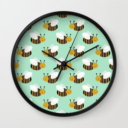 Bee pattern print mint honey bees nature inspired cute nursery kids gender neutral pattern Wall Clock