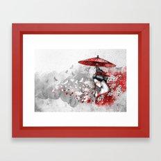 Falling blossoms Framed Art Print