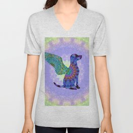 All Dogs Go To Heaven - Purple and Green Colorful Mandala Art - Sharon Cummings Unisex V-Neck