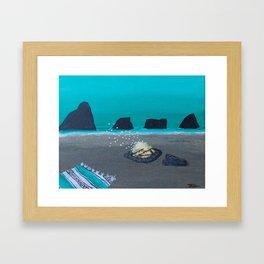 Beach Bon Fire in California Framed Art Print