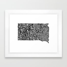 Typographic South Dakota Framed Art Print