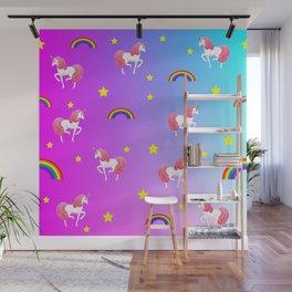 rainbows and unicorns pattern Wall Mural
