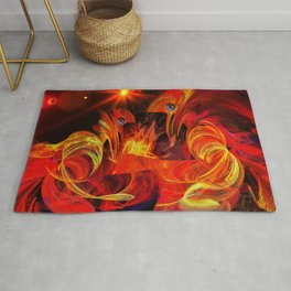 Two fiery rooster Rug
