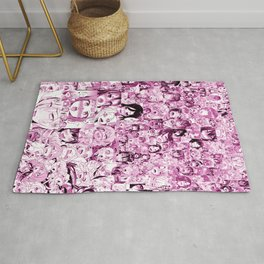 Ahegao Hentai Collage pink Rug