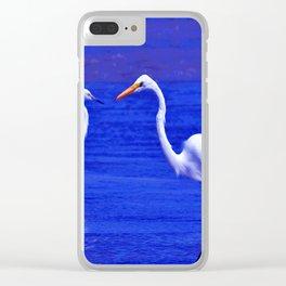ROYAL BLUE GARZA BIRD Clear iPhone Case