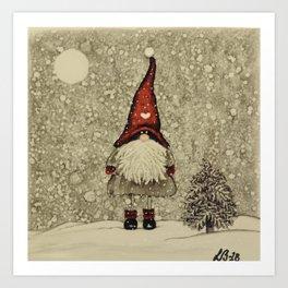 """Tomten Elmer"" is looking for a little Christmas tree. Art Print"