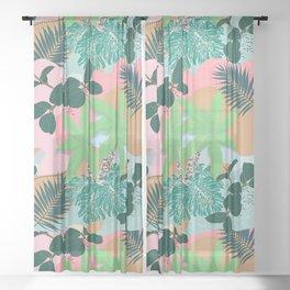 Modern Pink Mint Tropical Foliage Creative design Sheer Curtain