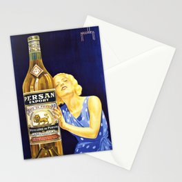 Vintage Parisian French Anis del Oso Aperitif Liquor Persan Export Advertisement Poster Stationery Cards