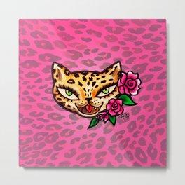 Leopard Kitty Tattoo Flash Metal Print