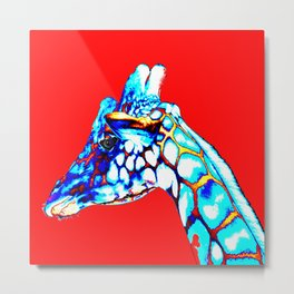 Colorful Giraffe Red (Left facing) Metal Print