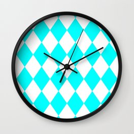 Diamonds (Aqua Cyan/White) Wall Clock