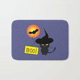 Cute cat trying to be scary for Halloween Bath Mat