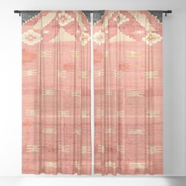 South West Anatolia  Antique Turkish Niche Kilim Print Sheer Curtain