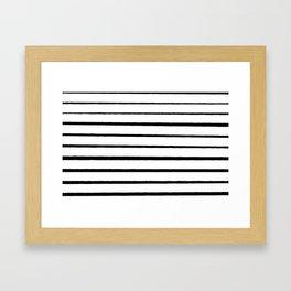Black and White Rough Organic Stripes Framed Art Print
