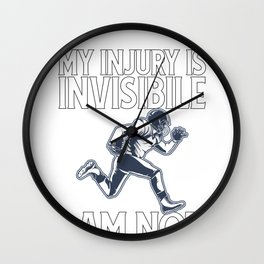 Concussion Awareness My Injury is Invisible I am Not Football Injury Wall Clock