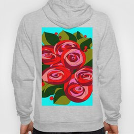 A Bouquet of Big Flowers with a Sky Blue Background Hoody
