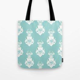 Seamless vintage pattern, white on green Tote Bag
