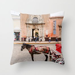 Horse Carriage in Downtown Merida, Mexico Throw Pillow