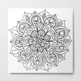 Mandala Black 3 Metal Print