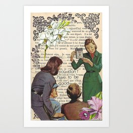 mary oliver quote, handmade collage Art Print