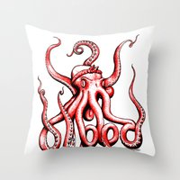 gangster Throw Pillows featuring Gangster Octopus by Milo Firewater