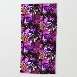Palm Leaf Purple Pink Beach Towel
