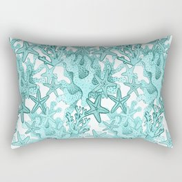 Coral and Star fish in teal blue Rectangular Pillow