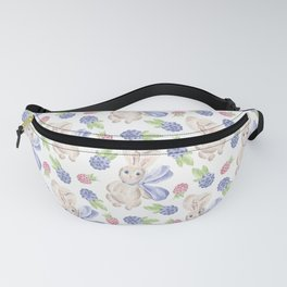 Cute white pink lavender watercolor bunny berries Fanny Pack