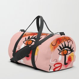 Face Blush Pink Abstract Duffle Bag
