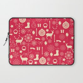 White Objects Christmas Pattern Laptop Sleeve
