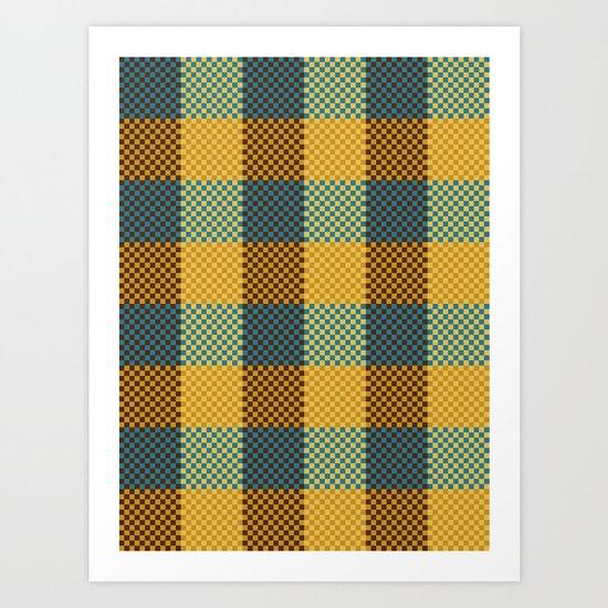 Pixel Plaid - Winter Walk Art Print