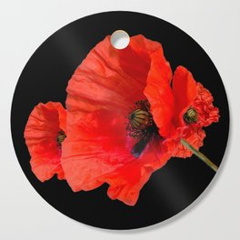 Poppies on Black Cutting Board