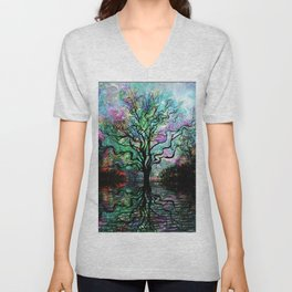 Van Goghs Aurora Borealis Reflection Unisex V-Neck